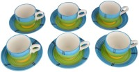 LUCINA LUCINA Tea Cup And Saucer Bone China -Set Of 12 10 (Multicolor, Pack Of 12)