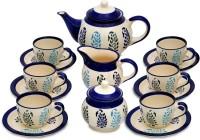Caffeine Handmade Authentic Print Blue/White Tea Set (White, Blue, Pack Of 15)