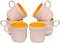 Elite Handicrafts White N Yellow Tea Cups Set Of 6 Ehcc109 (White, Yellow, Pack Of 6)