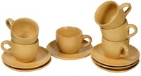 Inhomez Pitambari Stoneware Cup Saucers - Set Of 6 149 (Beige, Pack Of 12)
