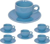 Elite Handicrafts Stoneware_Cups_Saucers_Set EHCC0200 (Blue, Pack Of 12)