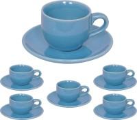 Elite Handicrafts Stoneware_Cups_Saucers_Set EHCC0200 (Blue, Pack Of 12)