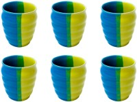 Elite Handicrafts Blue Green And Yellow Kulhar Tea Cups Set Of 6 - Best For Self Use; And Diwali, Dhanteras & Festive Gifts EHCC0173 (Blue, Green, Pack Of 6)
