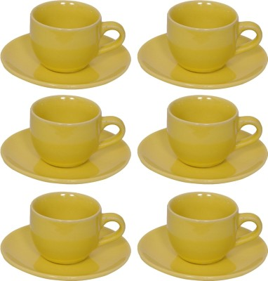 Elite Handicrafts Stoneware_Cups_Saucers_Set EHCC0201 (Green, Pack Of 12)