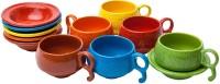 Elite Handicrafts Marble Finish Tea Cups & Saucers EHCC0169 (Multicolor, Pack Of 12)