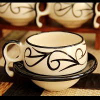 Unravel India Crawl Print Ceramic Cup Saucer(Set Of 6) (White)