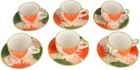 LUCINA LUCINA Tea Cup And Saucer Bone China -Set Of 12 2 (Multicolor, Pack Of 12)