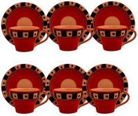 Craftghar Orange Cup Saucer Set (Multicolor, Pack Of 12)
