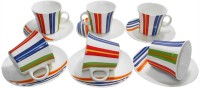 Classique Bone China Multi Color Cup Saucer Set (Multicolor, Pack Of 12)