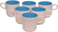 Elite Handicrafts White N Blue Ceramic Cups Set Of 6 Ehcc120 (White, Blue, Pack Of 6)