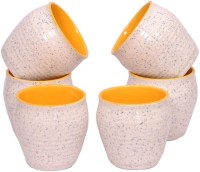 Elite Handicrafts Ceramic Kulhar Tea Cups Set Of 6 In White & Yellow Ehcc116 (White, Yellow, Pack Of 6)