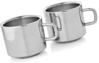 Dynamic Store Set Of 2 Double Wall Tea Cups DS_140 (Steel, Pack Of 2)