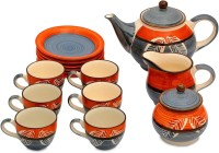 Caffeine Handmade Authentic Leaf Print Kettle Org/Blk Tea Set (Orange, Black, Pack Of 15)