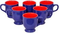 Elite Handicrafts Blue N Red Ceramic Tea Cups Set Of 6 Ehcc115 (Blue, Red, Pack Of 6)