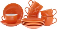 Tibros Orange Earthware Cups Saucers 12 Pcs 2142T (Orange, Pack Of 12)