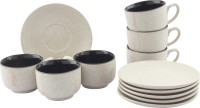 Tibros White Sparkle Ceramic Cups Saucers 12 Pcs 2112T (White, Pack Of 12)