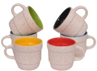 Elite Handicrafts Duotone White N Multicolor Ceramic Cups Set Of 6 Ehcc121 (White, Multicolor, Pack Of 6)