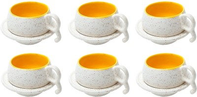 Elite Handicrafts Marble Finish Duotone Tea Cups & Saucers EHCC0166 (White, Yellow, Pack Of 12)