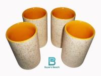 Buyer's Beach Buyer's Beach High Quality Colored Chai Glass (H) Set Of 4, 180 Ml (Yellow)