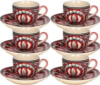 Craftghar Set Of 6 Tea Cups And Saucers (Red) (Red, Pack Of 12)