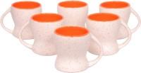Elite Handicrafts Set Of 6 White N Orange Ceramic Tea Cups Ehcc095 (White, Orange, Pack Of 6)