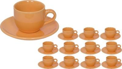 Elite Handicrafts Stoneware_Cups_Saucers_Set EHCC0203 (Beige, Pack Of 24)