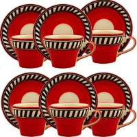 Craftghar Cup Saucer Set Orange (Multicolor, Pack Of 12)