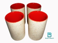 Buyer's Beach High Quality Colored Chai Glass (G) Set Of 4, 180 Ml (Red)