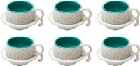 Elite Handicrafts Marble Finish Duotone Tea Cups & Saucers EHCC0171 (White, Green, Pack Of 12)