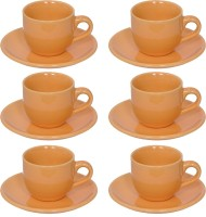 Elite Handicrafts Stoneware_Cups_Saucers_Set EHCC0197 (Beige, Pack Of 12)