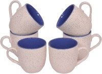 Elite Handicrafts Dual Color White N Blue Ceramic Tea Cups Set Of 6 Ehcc126 (White, Blue, Pack Of 6)