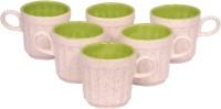 Elite Handicrafts White N Mehandi Green Ceramic Cups Set Of 6 Ehcc119 (White, Green, Pack Of 6)
