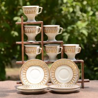 Unravel India Bone China Gold Print Cup Saucer (Set Of 6) HWCR0136 (White, Gold, Pack Of 12)