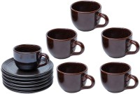 Elite Handicrafts Glossy Tea Cups & Saucers EHCC0180 (Brown, Pack Of 12)