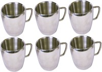 Dynamic Store Set Of 6 Double Wall Apple Mugs DS_113 (Steel, Pack Of 6)