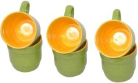 Elite Handicrafts Green N Yellow Ceramic Tea Cups Set Of 6 Ehcc099 (Green, Yellow, Pack Of 6)