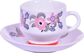 CLAY CREATIONS Clay Creations Bone China Tea Cup and Saucer-Set of 6 34
