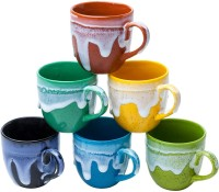 Elite Handicrafts Set Of 6 Multicolor Classy Look Ceramic Tea Cups - Best For Self Use; And Diwali, Dhanteras & Festive Gifts EHCC0158 (Multicolor, Pack Of 6)