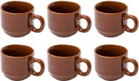 Elite Handicrafts Set Of 6 Coffee Color Ceramic Tea Cups - Best For Self Use; And Diwali, Dhanteras & Festive Gifts EHCC0162 (Brown, Pack Of 6)