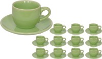 Elite Handicrafts Stoneware_Cups_Saucers_Set EHCC0204 (Green, Pack Of 24)