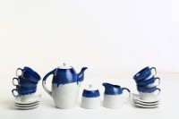 Caffeine Handmade Studio Art Influenced Blue And White Kettle Tea Set (White, Blue, Pack Of 15)