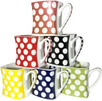 Cdi Polka Dots Multi-Color Tea Coffee Mugs (Multicolor, Pack Of 6)