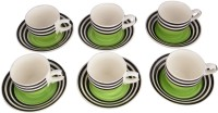 LUCINA LUCINA Tea Cup And Saucer Bone China -Set Of 12 18 (Multicolor, Pack Of 12)