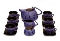 Caffeine Handmade Marble Matte Style Leaf Print Kettle Purple/Brown Tea Set (Purple, Brown, Pack Of 15)