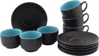 Tibros Black Ceramic Cups Saucers 12 Pcs 2113T (Black, Pack Of 12)