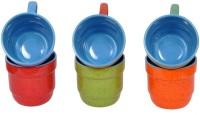 Elite Handicrafts Colorful Marble Finish Ceramic Tea Cups Set Of 6 Ehcc100 (Multicolor, Pack Of 6)