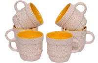 Elite Handicrafts White N Yellow Ceramic Cups Set Of 6 Ehcc122 (White, Yellow, Pack Of 6)