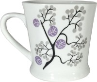 Cdi Bone China Tea Coffee Mugs With Printed Branches (White, Pack Of 6)