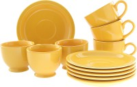 Tibros Yellow Ceremic Cups Saucers 12 Pcs 2143T (Yellow, Pack Of 12)