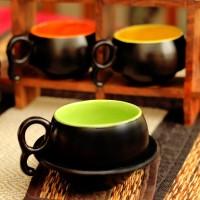 Unravel India Multicolored Ceramic Cup Saucer (Black)